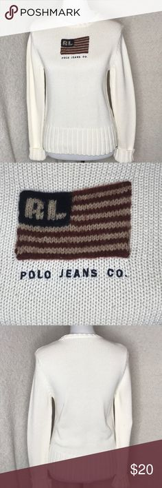 Vintage Polo Jeans Company Logo Sweater Vintage Polo Jeans Company crew neck sweater with flag logo on front. Small spot on back of sleeve (see photo) but otherwise great condition! Polo by Ralph Lauren Tops