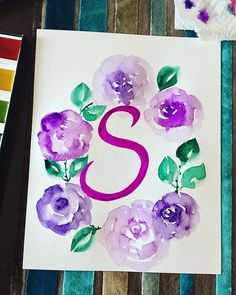Custom Name Letter with Flowers Wreath Watercolor Painting Watercolor Water, Watercolor Art Paintings, Wreath Watercolor, Name Letters, Flower Letters, Hand Painted, Wreaths, Fine Art, Lettering