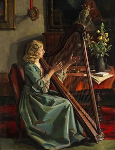 Max Rimböck (1890-1956) —  The Artist's Wife, Pplaying the Harp,  1941   (1228×1600)