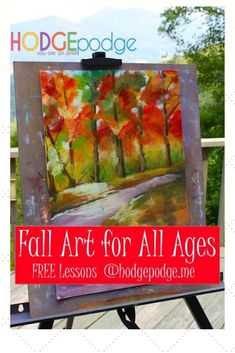 Pull out those fantastic reds, oranges, browns, yellows and greens and enjoy our free fall art lessons for all ages. Don't you love a fall palette? Fall Art Lessons for All Ages with Nana #YouAREanARTiST #artlessons #fallartlessons Painting Lessons, Art Lessons, Fall Art Projects, Autumn Art, Art Classroom, Art Club, Art Plastique, Art Activities, Teaching Art