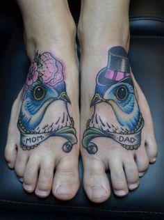 Bird tattoo, mom & dad