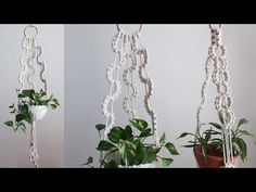 Macrame Plant hanger using wave pattern / 마크라메 플랜트 행거 만들기 - YouTube Macrame Plant Hangers, Macrame Tutorial, Wave Pattern, Fashion Sewing, Wall Hanger, Youtube, Plants, How To Make, Tutorials