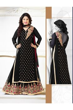 THANKAR BLACK & BEIGE EMBROIDERED GEORGETTE SEMI-STITCHED STRAIGHT SUIT