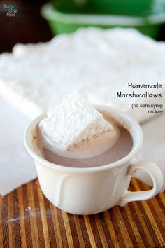 Homemade Marshmallow Recipe – No Corn Syrup.  I added Vanilla during end of beating stage and increased to 1 tbsp.