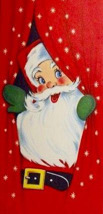 Santa peeking through curtains. Vintage Christmas Card. 1950's Christmas Card. Retro Santa.