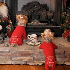"""Adorable Santa's Lil' Helper Small Dog Pajamas. 100% thermal cotton jammies are super soft and stretchy making them comfortable to wear and easy to put on. """"Santa's Lil' Helper"""" is embroidered on the bottom. Open tail end so your pup can go potty with them on."""