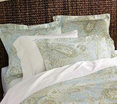 "Sienna Paisley Duvet Cover. Full/Queen: 92 x 88"", King/Cal. King: 108 x 92"". Shams: Standard - 20 x 26"" and Euro - 26"" square"