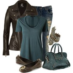 T & Jeans, created by lagu on Polyvore...    And what about the gorgeous leather pieces.      Love the leeeaaather!