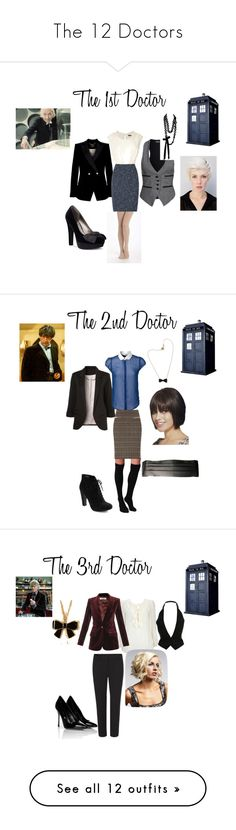 """The 12 Doctors"" by nchavez113 ❤ liked on Polyvore featuring Denham, Ted Baker, Sally Phillips, G by Guess, Phase Eight, Pure + Good, Plush, Aubin & Wills, Etro and Seychelles"