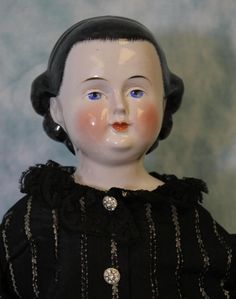 "22"" Antique German Kestner China Head Doll Rare Hairstyle w/ Headband c1860"