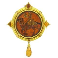 $3960  Elizabeth-Locke-Citrine-Miniature-Painting-Gold-Brooch-Pin