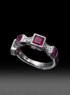 JPratt Designs: Custom created platinum and diamond ladies band with ruby accents