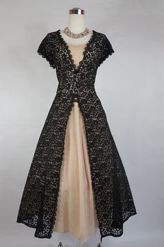 1950's Vintage Black Lace and Pink Tulle Cocktail Dress