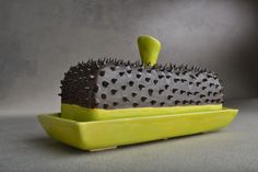 Butter Dish : Black and Chartruese Dangerously Spiky Butter Dish by Symmetrical Pottery Made To Order. $50.00, via Etsy.