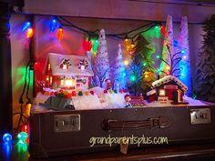 Christmas Idea - Cute winter scene inside a vintage suitcase!