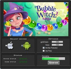 This hack works 100% to the game Bubble Witch 2 Saga. If you download this tool you can be generate a lot of gold bard and lives. Our group guarantee a hack it working very well. Tool is easy to use and does not need a installation.   http://wazzupgames.com/bubble-witch-2-saga-hack-android-ios-download/
