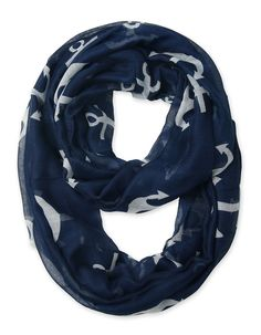 Corciova® Soft Anchor Printed Infinity Loop Scarf Navy