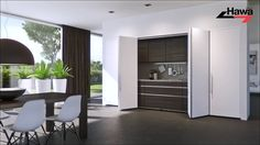 Flush when closed - completely open. Hardware systems for pivot sliding cabinet doors weighing up to 25, 30, 40 and 50 kg and hardware for bi-folding cabinet...