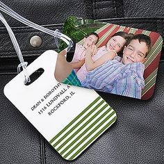 Personalized Photo Luggage Tag Set - only $15.95 from PMall - LOVE this idea - they'll help you spot your bag right away plus they're super cute because you can have them personalized with any photo you want! I'm getting these and I'll never travel without them!