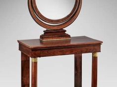 Table frame with central drawer and molded edges supported by slightly tapering columnar front legs with ormolu base and capital mounts and back legs of thin pilasters … Boston Furniture, Circular Mirror, Table Frame, Museum Of Fine Arts