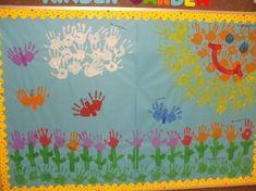 Kindergarten-Spring-Bulletin-Board-Idea « Preschool and Homeschool Kindergarten Bulletin Boards, Kindergarten Units, Spring Bulletin Boards, Classroom Bulletin Boards, Classroom Ideas, Spring Art, Spring Theme, Spring Activities, Preschool Crafts