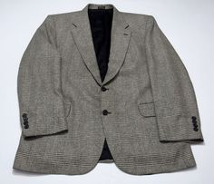Stafford 42R Men's Black White Sport Coat Jacket Blazer Silk Wool Blend 42 R Reg #Stafford #TwoButton