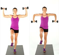 Melt Fat, Build Muscle: Dumbbell Blast Circuit Workout: Add some dumbbells to your fitness routine and build some metabolism-boosting muscle while toning your entire body. Arm Exercises With Weights, Best Dumbbell Exercises, Dumbbell Workout, Workout Exercises, Gym Workouts, Workout Fitness, Weight Training, Weight Lifting, Weight Loss