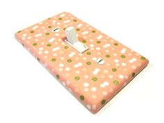Peach and Gold Confetti Dots Light Switch Cover by ModernSwitch