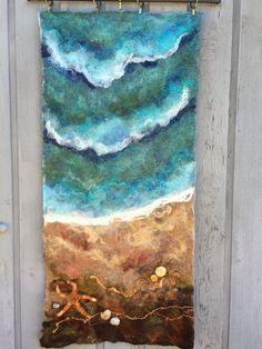 Beach Star Wet Felted Wall Hanging by Deebs on Etsy (Art &… Wet Felting Projects, Felting Tutorials, Nuno Felting, Needle Felting, Felt Wall Hanging, Felt Pictures, Wool Art, Felt Art, Soft Sculpture