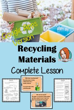 Distance Learning Recycling Materials Google Slides Lesson This lesson includes a detailed presentation to explain how and why we Recycle Materials. There are also differentiated Google Slides worksheets to allow children to demonstrate understanding of the types of materials recycled and how the process happens. #teaching #recycling #googleclassroom Lessons For Kids, Science Lessons, Teaching Science, Classroom Resources, Teacher Resources, Google Classroom, Activity Games, Primary School, Recycled Materials