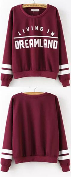 Burgundy Round Neck Letters Print Sweatshirt. Hipster outfits for  teensFashion