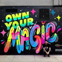 Throwback to one year ago I painted this mural in soho - in one of the best spots for a mural in NYC (imho). I was lucky to have that mural up for 9 months and Im thankful for it :) I hope to paint another one like this somewhere else in the city soon! Graffiti Wall Art, Murals Street Art, Graffiti Lettering, Mural Wall Art, Street Art Graffiti, Graffiti Artists, Graffiti Painting, Typography, School Murals