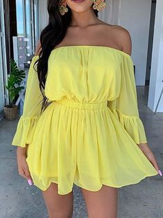 Nine Points Sleeve Off Shoulder Pleated Pullover Women's Day Dress Ladies Day Dresses, Sexy Dresses, Cute Dresses, Casual Dresses, Casual Outfits, Summer Dresses, Mode Outfits, Girly Outfits, Dress Outfits
