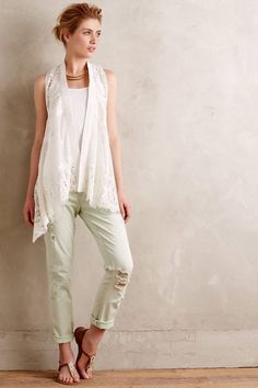 Anthropologie Draped Lace Vest M/L Petite, White Cotton Lace Top By Meadow Rue #MeadowRue #Casual