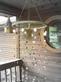 Recycled Bicycle Wheel with Mirror Garland on Etsy, $180.00