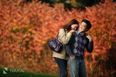 Chicago Engagement Photography - Fall photoshoot in Ann Arbor Michigan! Red & Orange leaves! Image by Nakai Photography http://www.nakaiphotography.com