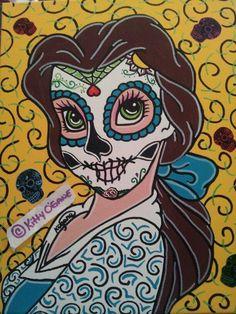 Belle by Kitty O'Gaine Disney Punk, Dark Disney, Disney Day, Disney Songs, Disney Fan Art, Disney Style, Sugar Skull Tattoos, Sugar Skull Art, Sugar Skulls