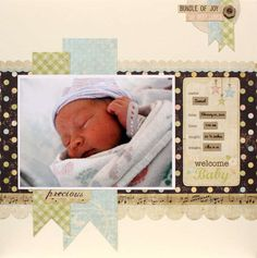 30 Ideas Baby Boy Announcement Scrapbook Layouts For 2019 Baby Boy Scrapbook, Baby Scrapbook Pages, Scrapbook Sketches, Scrapbook Page Layouts, Scrapbook Paper Crafts, Scrapbook Cards, Birthday Scrapbook, Birthday Cards, Baby Girl Announcement