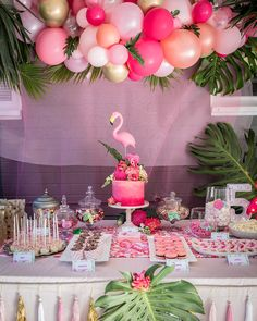 Photo from Flamingo Party - Low Res collection by Megann Evans Photography Flamingo Party, Flamingo Baby Shower, Flamingo Birthday, Luau Birthday, Birthday Party Themes, Birthday Balloons, Birthday Ideas, Festa Party, Luau Party