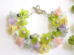 Flower Girl Bracelet, Charm Bracelet, Faux Pearl Bracelet, Handcrafted Jewelry, Flower Bracelet for Women, Silver Chain Bracelet