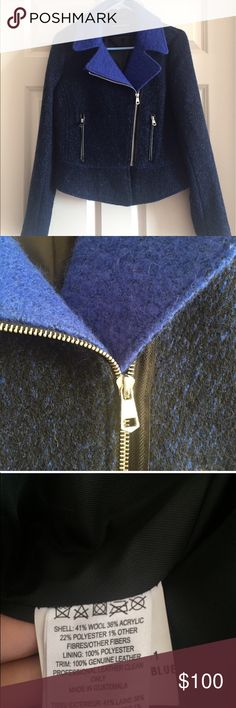French Connection Designer Blue Wool Jacket Great condition, retails at $400. This French Connection jacket is super warm and perfect for a chilly date out, brisk walk to work, and more!   The sleeves fit all the way to your wrist and go a bit onto your hands. Perfect to grab and keep your fingers warm. French Connection Jackets & Coats