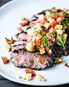 Grilled Flank Steak with Breadcrumb Salsa