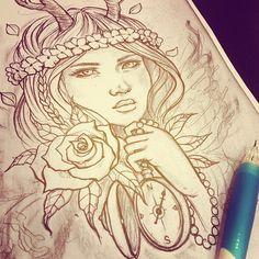 girl with antlers tattoo | wolves gotta eat, #tattoo #tattoodesign #customtattoo #gborn...