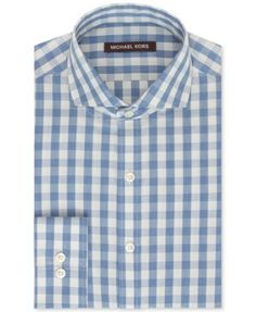 Michael Kors Blue Haze Gingham Dress Shirt