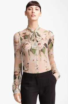 Dolce & Gabbana - Rose Print Chiffon Blouse #spring #style #15things #dolce #gabbana