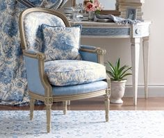 My Faux French Chateau: Antique French 18th Century Red Toile de Jouy Fabric   Love the chair!