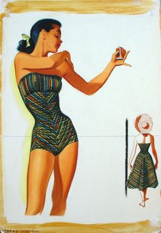 Pete Hawley - 1950s Jantzen Swimsuit Art...don the matching skirt and walk into the shop wearing a dress. So 50s. <3