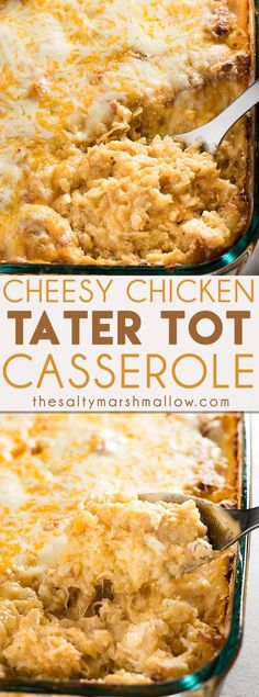 Cheesy Chicken Tater Tot Casserole - This cheesy tater tot casserole makes for one of the best family friendly weeknight dinners! Easy to make, full of cheese, ranch seasoning, chicken, and tater tots!