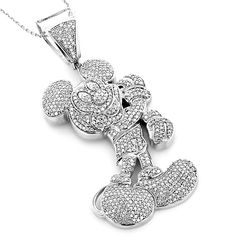 10k White Gold 3 1/4ct Diamond Mickey Mouse Necklace