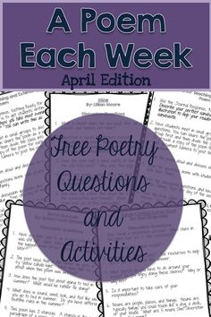 FREE March a Poem Each Week. Questions and activities to accompany 4 March-Themed poems. Teaching Poetry, Teaching Reading, Teaching Ideas, Teaching Resources, Reading Skills, Guided Reading, Poetry Activities, Reading Activities, English Activities